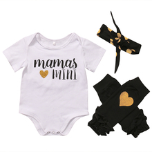 3pcs Newborn Baby Clothing Girls Boys Romper O-Neck Black Yellow Heart Pattern Leg Warmers Cute Headband Outfits Clothes Set
