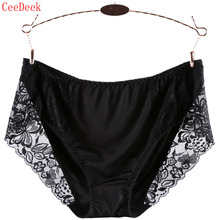 Buy Sexy Lace Panties Women's Underwears Large Size Mid Waist Solid Color Pregnant Breathable Comfortable Panties Pink Black Color