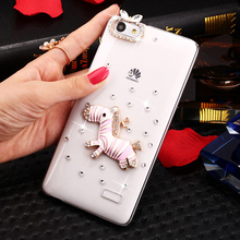 SMILE CASE Pink zebra Rhinestone Clear PC Case for Huawei honor 5x / honor 4c / honor 4C Pro mobile phone Cases Air transport(China)