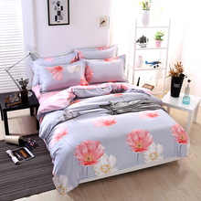 Mecerok 3/4pcs Flower Printing Bedding Set Pink Red Gray Duvets and Bedding Sets with 2pcs Pillowcases Flat Sheet Bed Linen Sets(China)