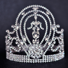 Miss Universe Hot European Design Royal Men's Queen's King's Big Huge Round Crown Silver Gold Golden Clear Rhinestones Tiaras