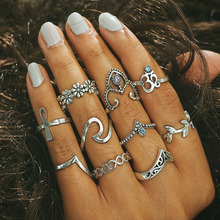 10 pcs / 1lot HOT NEW Fashion vintage boho opal stone punk ring finger bohemian female silver arrow wedding rings retro gold midi ring set flower wholesale jewelry(China)