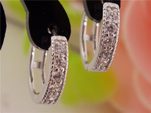 H:HYDE 1pair Silver Color womens Clear Shining CZ Zircon Pretty hoop earrings(China)
