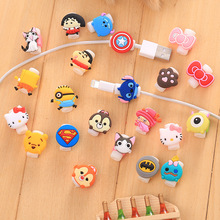 20pcs/lot Cute cartoon figure USB Data Cable Line Protector Anti Breaking Protective Sleeve For IPhone cable Protect stitch