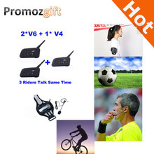 2016 V4 + 2 * V6 1200M 3 Referees Talk same time for Football Referee Coach Headset Judger Arbitration Walkie Talkie Earphone