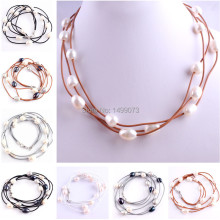 "SALE FREE SHIPPING FASHION STYLE 3ROW 10-12MM NATURAL OVAL FRESHWATER PEARL LEATHER NECKLACE 16"" LOBSTER CLASP 1 PCS"