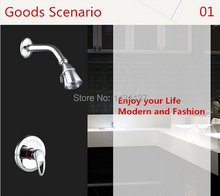 promote high quality brass material in-wall single lever hot and cold bathroom shower set faucet