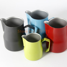 Colourful Commerical Professional stainless steel Milk Pitcher Foaming Jug/Teflon stainless steel espresso tools