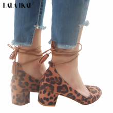 LALA IKAI Ankle Strap Women Pumps Faux Suede Lace up Square Heel Tassel Shoes Women Sexy Leopard Party High Heels 014B0201-5(China)