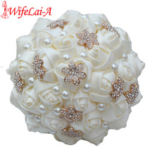 WifeLai-A 1Piece Casual Ivory Cream Gold Flower Brooch Bouquet Bridesmaid Bridal Artificial Rose Wedding Bouquet W242 Customized(China)