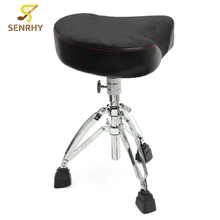 SENRHY New Adjustable Triangle Throne Tripod Chrome Heavy Duty Double Braced Drum Seat Stool Drumming Chair Stand High Quality(China)