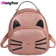 Menghuo Cat Backpack Pink Preppy Style School Backpacks Funny Quality Pu Leather Fashion Women Shoulder Bag Travel Bag Mochila