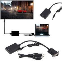 1080P HD VGA to HDMI Converter Adapter with Audio + Micro USB 2.0 Power Cable for TV PC laptop DVD Set TOP Box