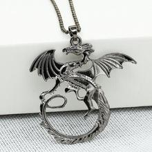 Free shipping! Wholesale Female Men Chinest Alloy Metal Game of Thrones Dragon Necklace 2017 Popular Jewelry for Couples