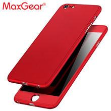 MaxGear 360 Degree Full Cover Red Case For iPhone 6 6s 7 Plus 5S 5 SE With Tempered Glass Case 6 Plus Phone Case Capa Coque(China)
