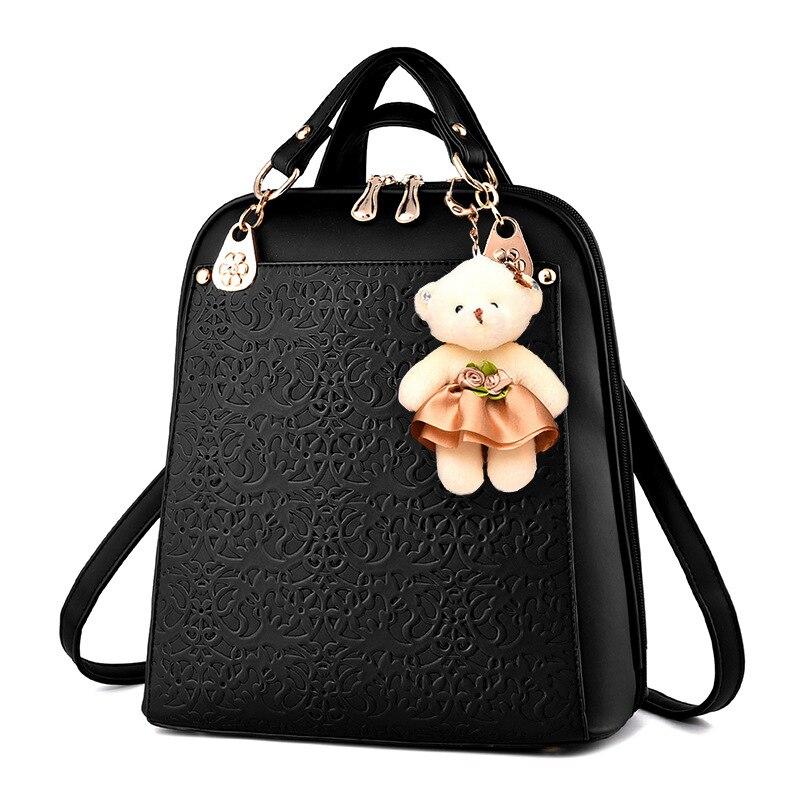 Black women backpack 2017 leather pu shoulder bag zip fashion College Wind school bags for teenagers Girls Bagpack mochila<br><br>Aliexpress