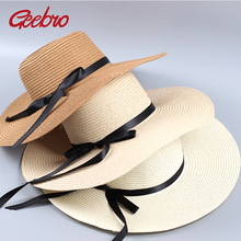 Women's Sun Hat Panama Women Straw Hats For Summer Visor Beach Hat Casual Chapeu Femme Panama Summer Sun Hats For Women GB018