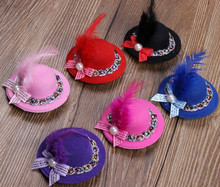Wholesale 12pcs Mixed Colorful Girl Mini Hat Fascinator Feather Hairpin Handmade 7CM Pearl Hair Clips With Cocktail With Bowler