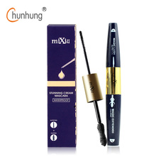 MIXIU Eyes Makeup 3D Fiber Mascara 2 Head in One Natural & Curling Magic Extended Eyelashes Black Thick Waterproof Mascara(China)