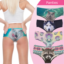 Sexy Panties 2016 New 3D Printed Animal Cat womens underwear lady briefs lingerie femme braguitas mujer(China)