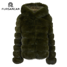FURSARCAR Top Quality Women Winter Thick Real Fox Fur Genuine Leather Female Jacket Women Short Natrual Fox Fur Coat with Hood(China)
