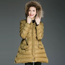 2016Winter women hooded Wadded coat female plus size warm thickening casual long padded jacket coat fur collar parkas XXXXXL8183