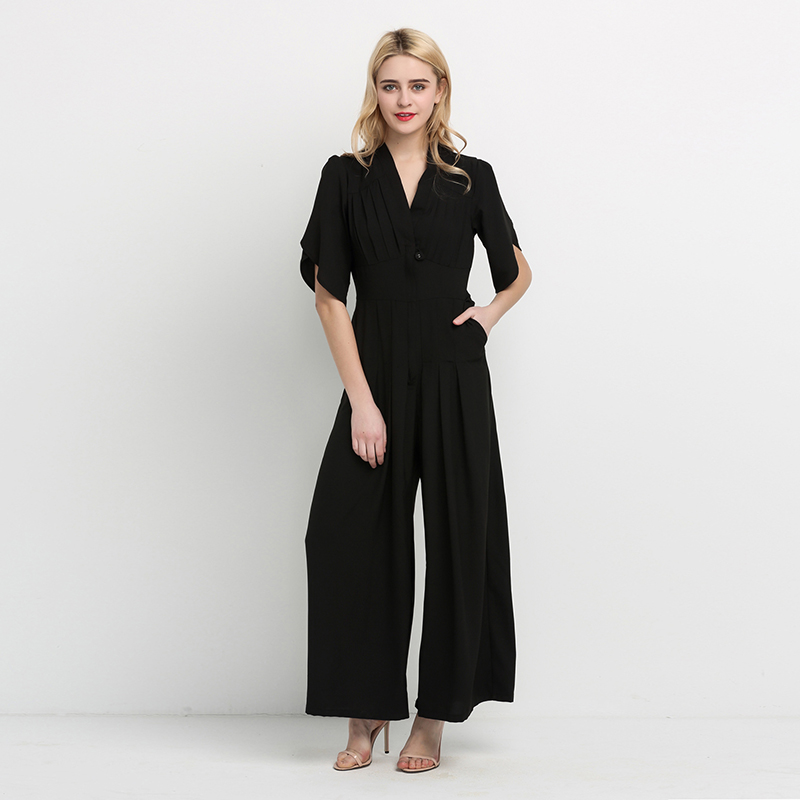 HDY Haoduoyi 2019 Summer High Waist Slim Pocket New Woman Jumpsuit Romper V-Neck Short Sleeve Harem Fashion Jumpsuit