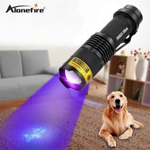ALONEFIRE SK68uv 395nm Zoomable Led UV Flashlight Torch Light Ultra Violet Light Blacklight UV Lamp AA Battery For Marker Check(China)