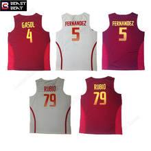 Spain Basketball Jerseys 4 Gasol 5 Fernandez 79 Rubio Throwback Home Away Beast Beat Edition Jerseys Outfit Workout Sports Shirt(China)