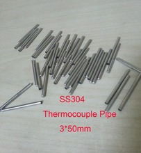 Customized 3*50mm One End Round Head High Quality SS304 Stainless Steel Thermowell Thermocouple Protection Tube  100 pcs / lot