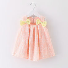Summer Baby Dress Cotton Newborn Baby Dress For Girl Sleeveless Casual Cute Double Bow kids Princess Party Infant Print Clothes