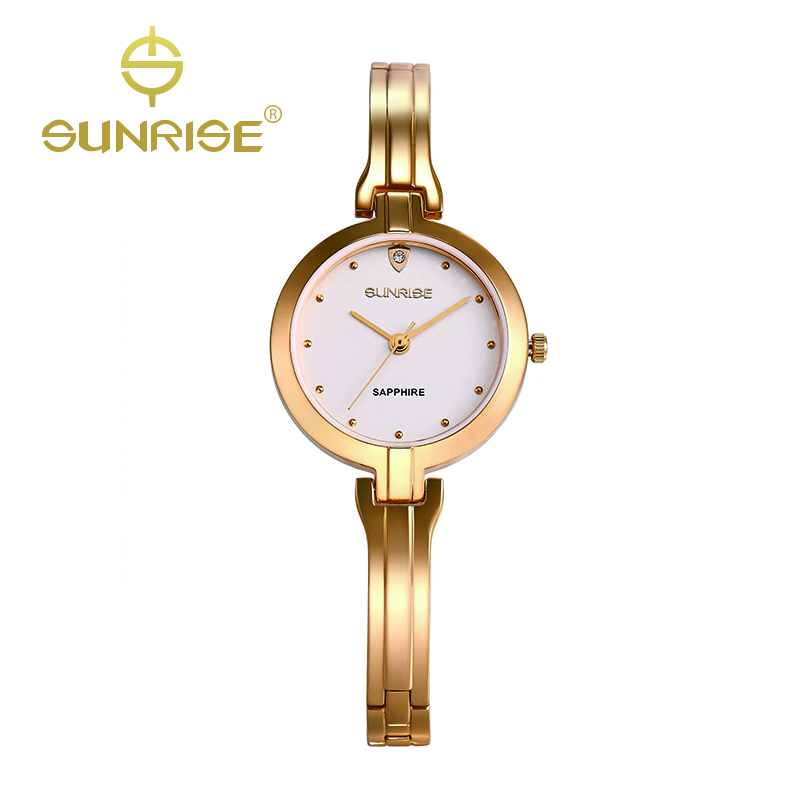 SUNRISE Women Quartz Gold Bracelet Watches Ladies Diamond Wristwatches Waterproof oyster Dress Watch moda mujer daytona SL713<br><br>Aliexpress