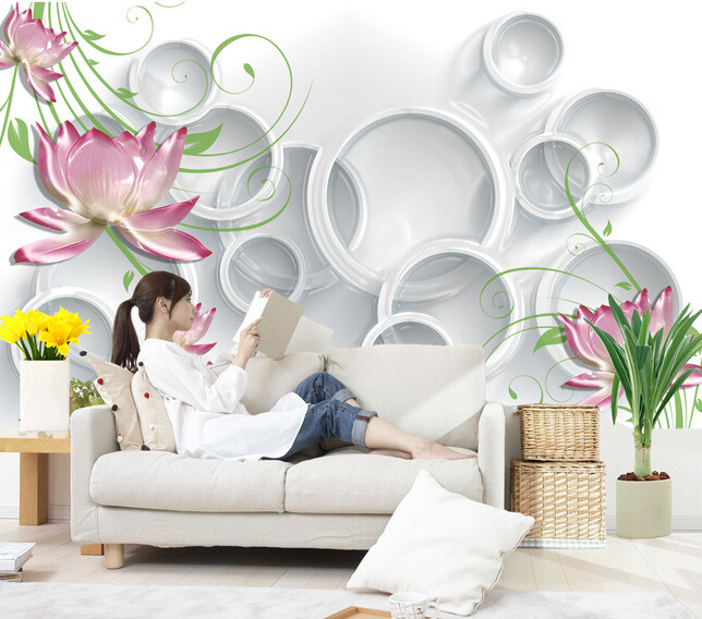 Custom 3D Wallpaper, ice crystal relief lotus murals for the living room bedroom TV background wall vinyl papel de parede<br>