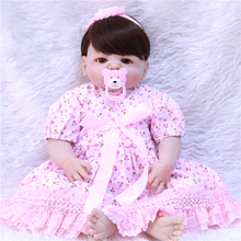 "New 22"" Lifelike bebe girl reborn Full Body Silicone Reborn Baby Boy Doll pink dress brown hair wig alive bonecas"