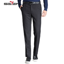 Seven7 Suit Pants Regular Cotton Linen Pants Men Trousers Male Straight long Business Evening Dress Pants 2017 Winter 111B70080(China)