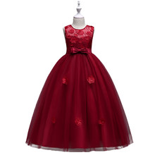 211fca90a12 BAOHULU Red Appliques Mesh Girls Dress for Evening Wedding Party Teenagers  Prom Gowns Bow Long Full kids Frocks for 3 6 8 12 16