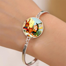 The Mad Hatter's Tea Party Alice In Wonderland Glass Cabochon Bracelets Charms Silver Plated Bangles(China)