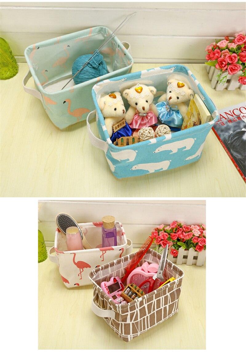 XC USHIO Cartoon Flamingo Rectangle Desktop Storage Box Linen Sundries Storage Organizer Cosmetic Storage Basket Container Case (3)