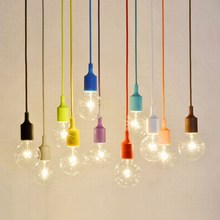 DIY 13 colorful optional collocation Silicone braided rope single head modern led ceiling pendant lamp e27 cord brief light bar