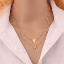 TOMTOSH 2016 Hot Fashion simple Gold  Triangle pendant necklace For Women Jewelry Accessories Wholesale Cheap