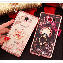 For Samsung Galaxy J3/J5/J7/A3/A5/A7/A8/A9 phone case finger ring buckle Rhinestone Soft Transparent TPU Protect Phone Cover