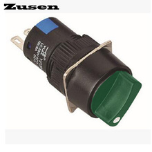 Zusen 16mm round plastic selector switch 2 position fixed 1NO1NC with green led light(LA16-11X/21/G/12V/Y)