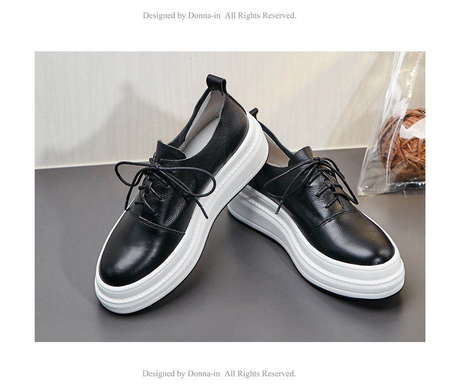 Donna-in Women Flats Shoes Platform Sneakers Shoes Genuine Leather Spring Fashion Sneakers Creepers Lace-up Comfortable Shoes (17)