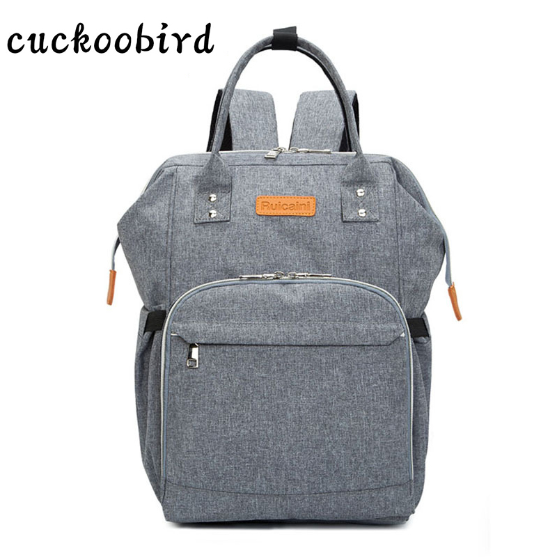 OXford Women Backpack High Quality Multi-Functional Bag Preppy Style Mami Unique Design Backpack Gray Zipper Female Bag <br>