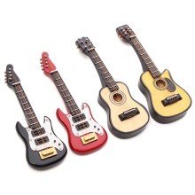 Kiwarm Fashion 1/12 Scale Dollhouse Miniature Guitar Accessories Instrument DIY Part for Home Decor Gift Wood Craft Ornaments