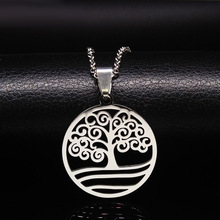 Fashion Tree of Life Pendants Necklaces For Women Silver Color Religion Stainless Steel Necklace Jewelry Gifts Bijoux N3601