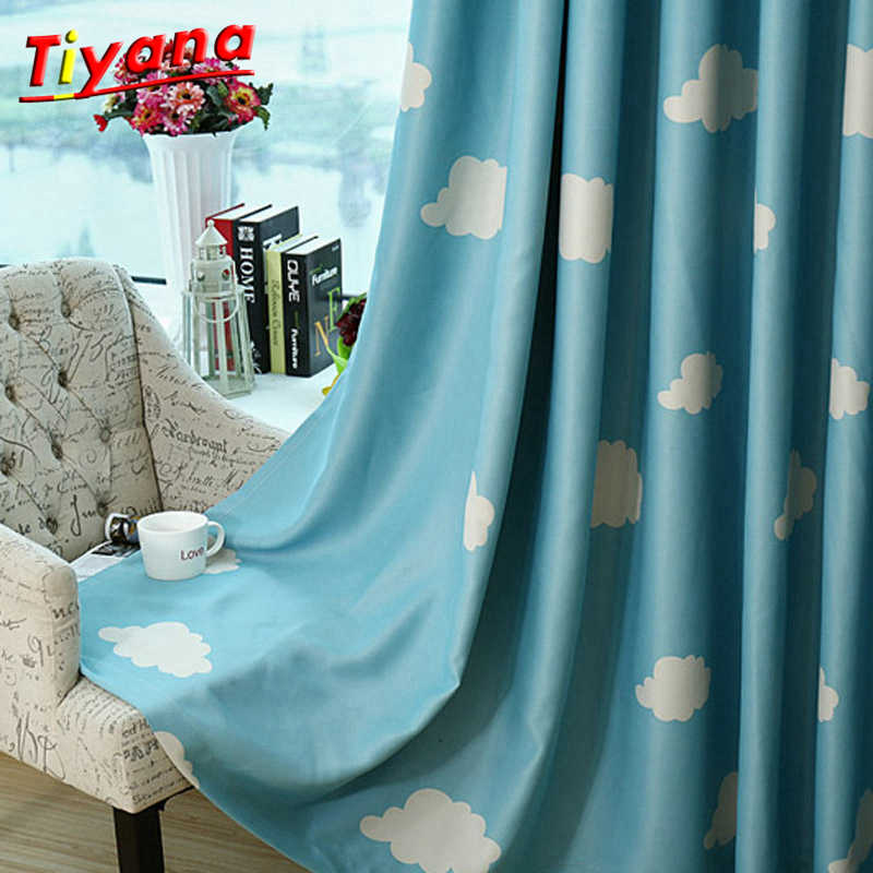 Pink blue blackout Curtain White clouds blue sky pattern Sheer Curtain Tulle curtain for Living room bedroom balcony WP125 *20