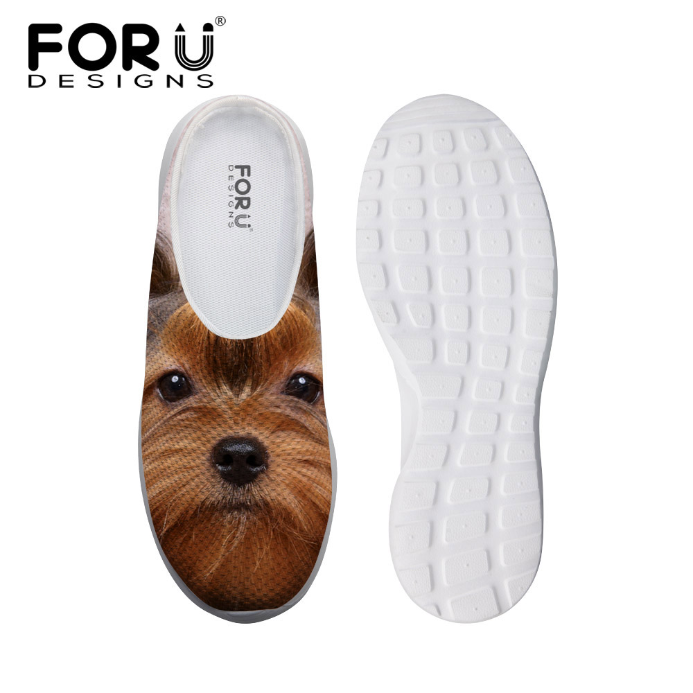 FORUDESIGNS New Womens Summer Slip-on Mesh Sandals Cute 3D Dog Yorkshire Terrier Printed Loafers Breathable Female Slippers<br>