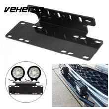 Vehemo Front Bumper License Plate Mount Stand Holder Bracket LED Light Offroad For Jeep Truck Universal Durable Black(China)