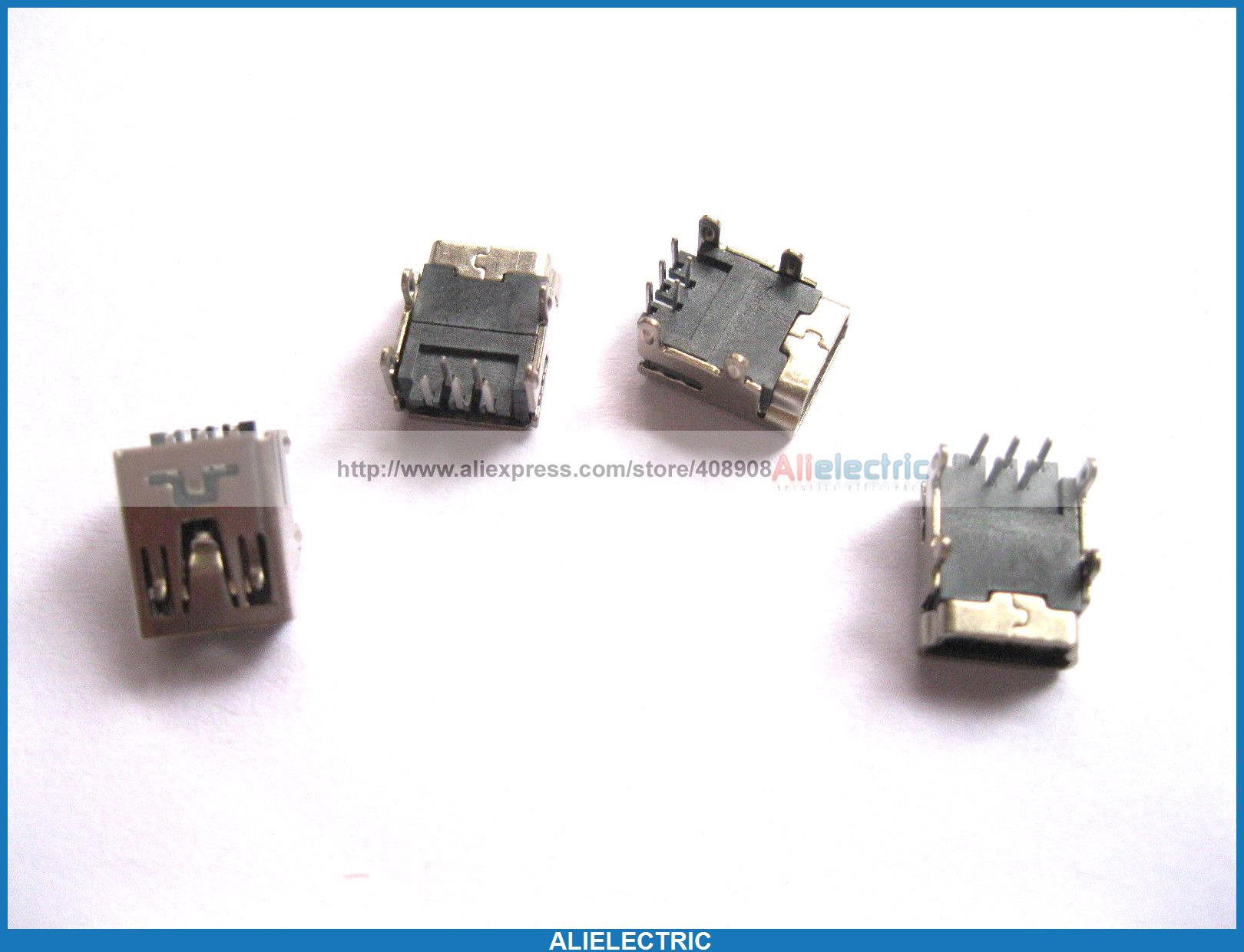 500 Pcs Mini USB Jack Female Socket Connector 5 Pin 90 degree<br><br>Aliexpress